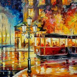 Пазл онлайн: Ночной трамвай