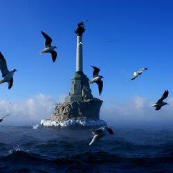 Пазл онлайн: Памятник затопленным кораблям