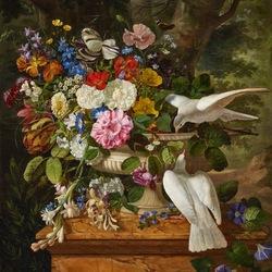 Пазл онлайн: Цветы и голуби