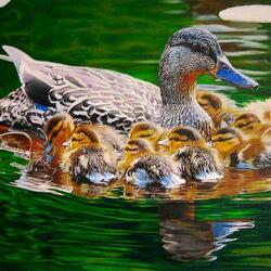 Пазл онлайн: Мама с малышами