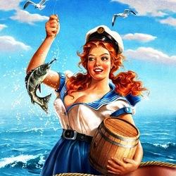 Пазл онлайн: Морячка