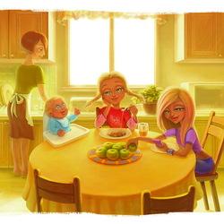 Пазл онлайн: За обеденным столом