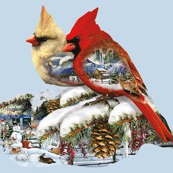 Пазл онлайн: Кардиналы зимой