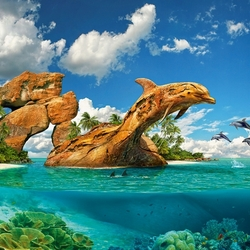 Пазл онлайн: У скалы дельфинов