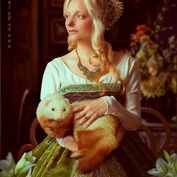 Пазл онлайн: Дама с горностаем