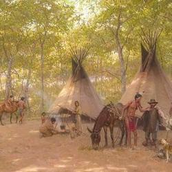 Пазл онлайн: Индейское поселение