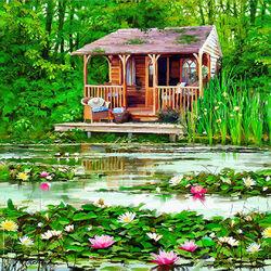Пазл онлайн: Домик у озера