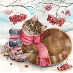 Пазл онлайн: Ботиночки для котика