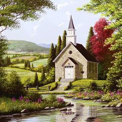 Пазл онлайн: Маленькая каменная церковь