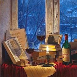 Пазл онлайн: Вино и свеча