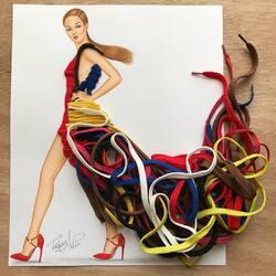 Пазл онлайн: Сделано из обувных шнурков