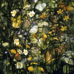Пазл онлайн: Бабочки в цветах