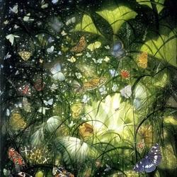 Пазл онлайн: Бабочки в растениях
