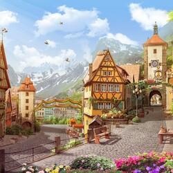 Пазл онлайн: Город в цветах