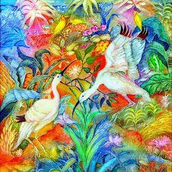 Пазл онлайн: Белые птицы