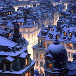 Пазл онлайн: Над крышами Парижа