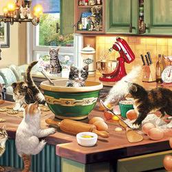 Пазл онлайн: Кошки на кухне