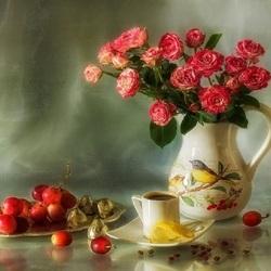Пазл онлайн: Кофе и розы
