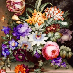 Пазл онлайн: Цветы на фарфоре