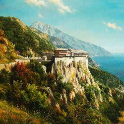 Пазл онлайн: Монастырь Симонопетра на Афоне