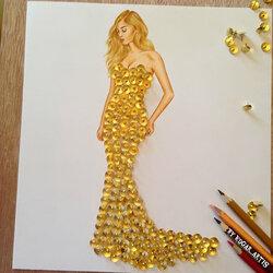 Пазл онлайн:  Золотое платье