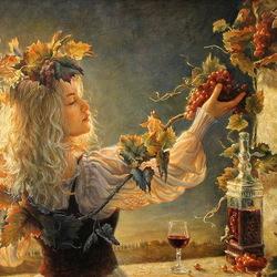 Пазл онлайн: Девушка и виноград