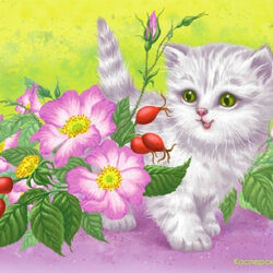 Пазл онлайн: Полосатый котёнок