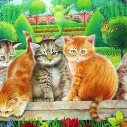 Пазл онлайн: Кошачий выводок в саду
