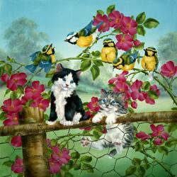 Пазл онлайн: Котята и синички