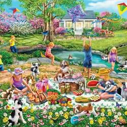 Пазл онлайн: Пикник на лугу