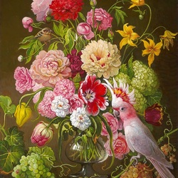 Пазл онлайн: Букет цветов и розовый попугай