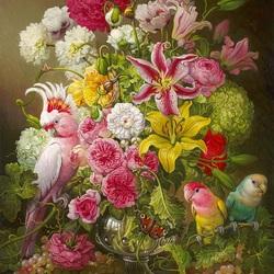 Пазл онлайн: Пионы с попугаями