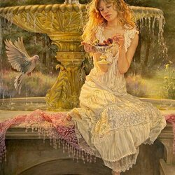 Пазл онлайн: Девушка у фонтана