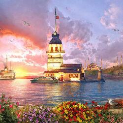Пазл онлайн: Девичья башня в Стамбуле