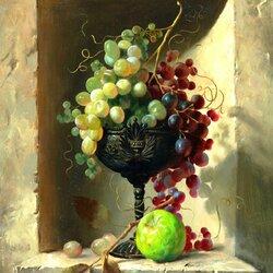 Пазл онлайн: Ваза с виноградом