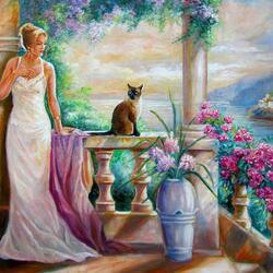 Пазл онлайн: Девушка с кошкой
