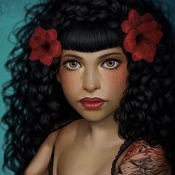 Пазл онлайн: Девушка с татуировкой