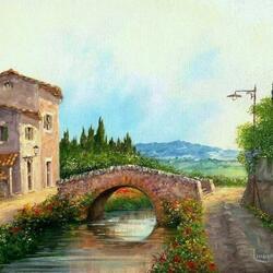 Пазл онлайн: Романтичный мостик в Тоскане