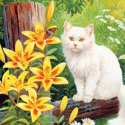 Пазл онлайн: Кошечка в цветах