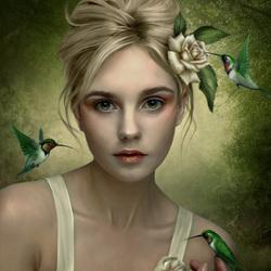 Пазл онлайн: Девушка и колибри