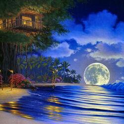 Пазл онлайн: Лунная дорожка