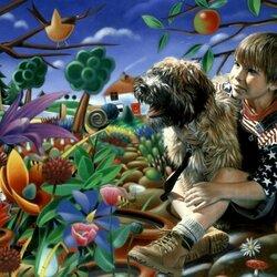 Пазл онлайн: Мальчик с собачкой