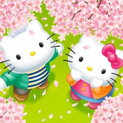 Пазл онлайн: Китти в цветочках