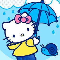 Пазл онлайн: Китти под зонтиком
