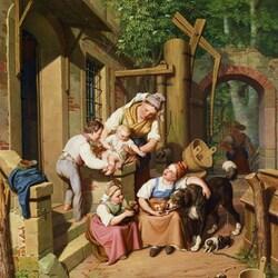 Пазл онлайн: Крестьянская семья