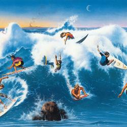 Пазл онлайн: Сёрфингисты