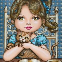 Пазл онлайн: Девочка и кошка