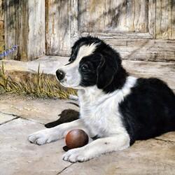 Пазл онлайн: Щенок с мячом