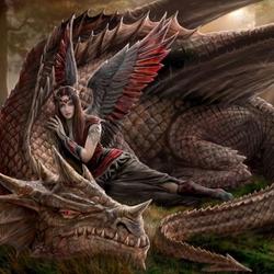 Пазл онлайн: Девушка с драконом