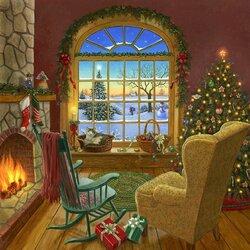 Пазл онлайн: Уютная рождственская гостиная с кошкой
